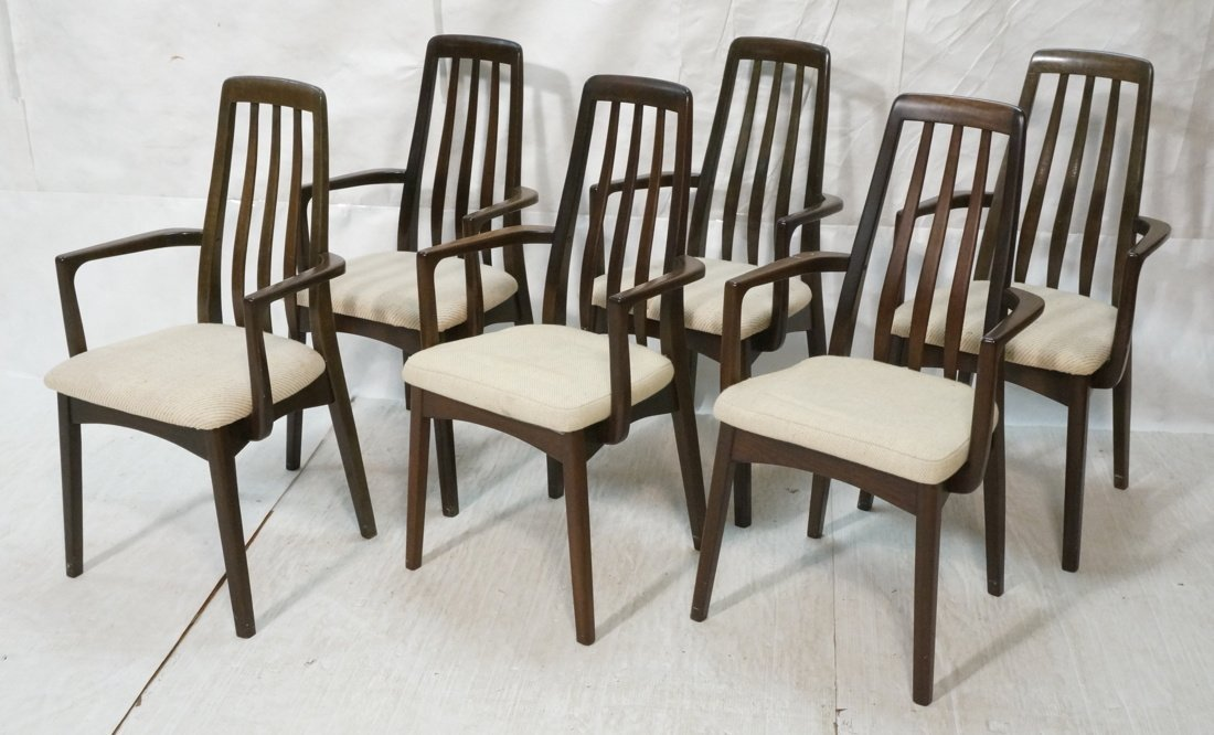 Set 6 BENNY LINDEN Dining Arm Chairs. Tall Sloped