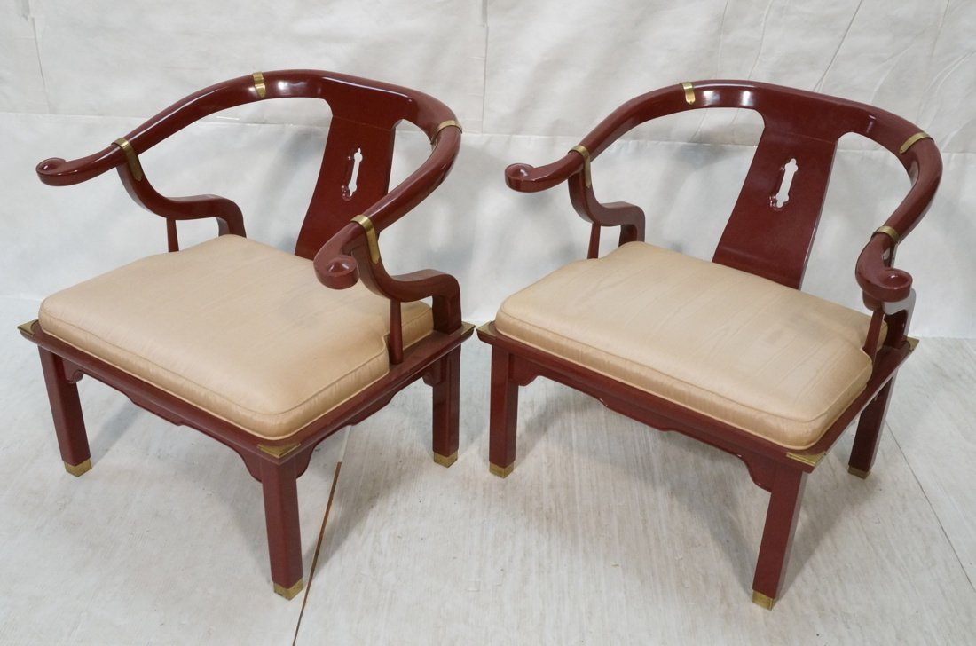 PR CENTURY Asian Wine Lacquer Lounge Chairs. Bras