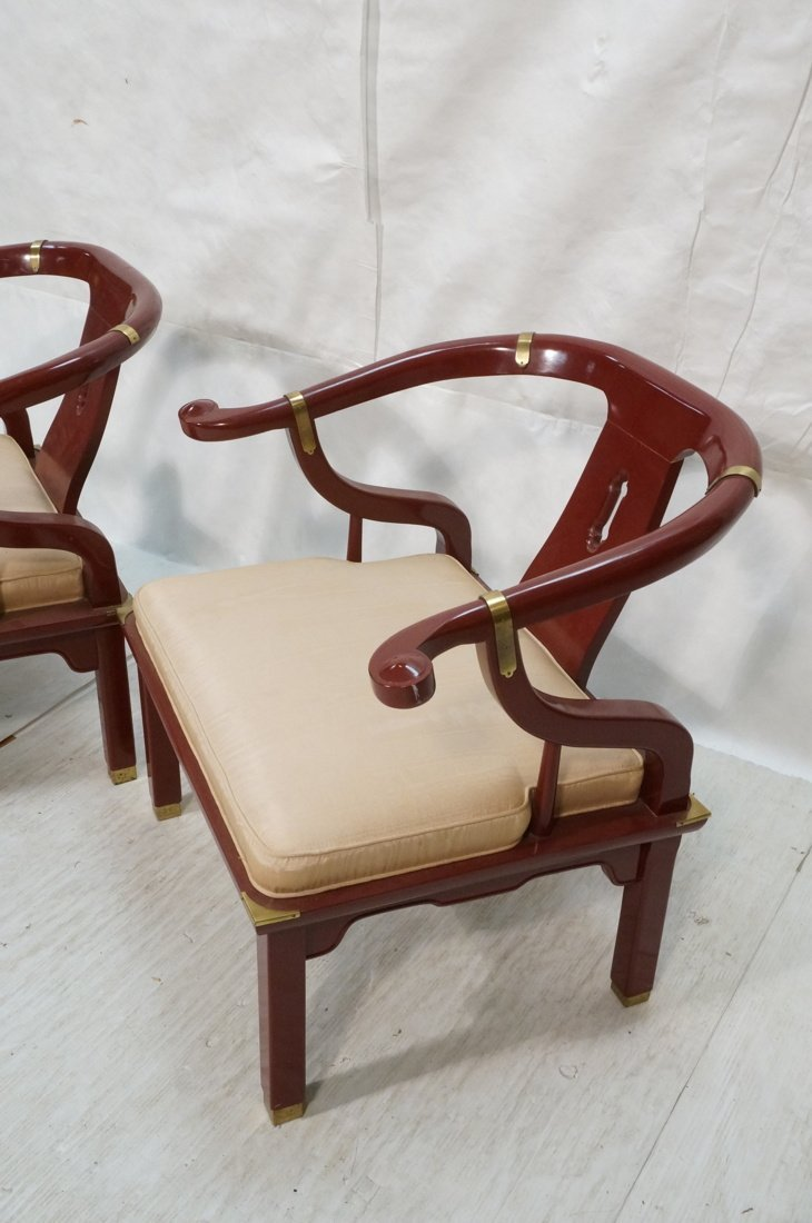 PR CENTURY Asian Wine Lacquer Lounge Chairs. Bras - 2
