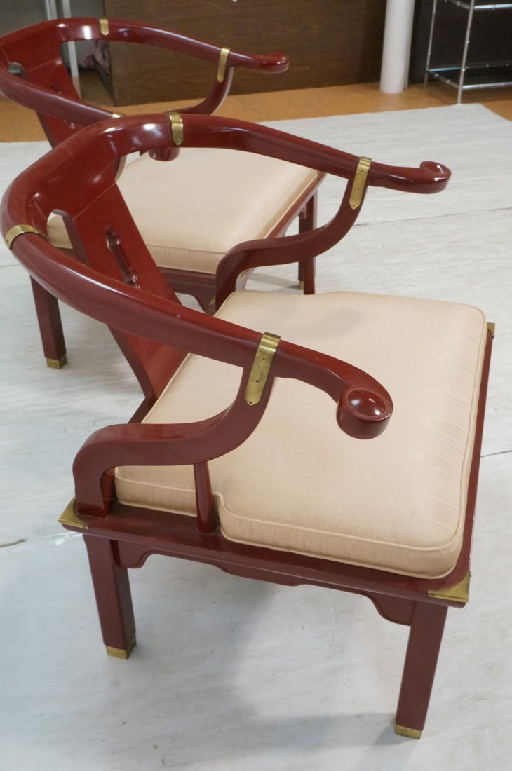 PR CENTURY Asian Wine Lacquer Lounge Chairs. Bras - 3