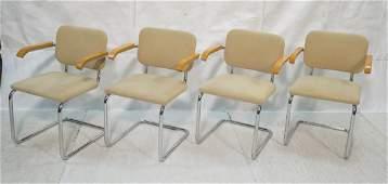 Set 4 KNOLL Tubular Chrome Arm Dining Chairs. Lig