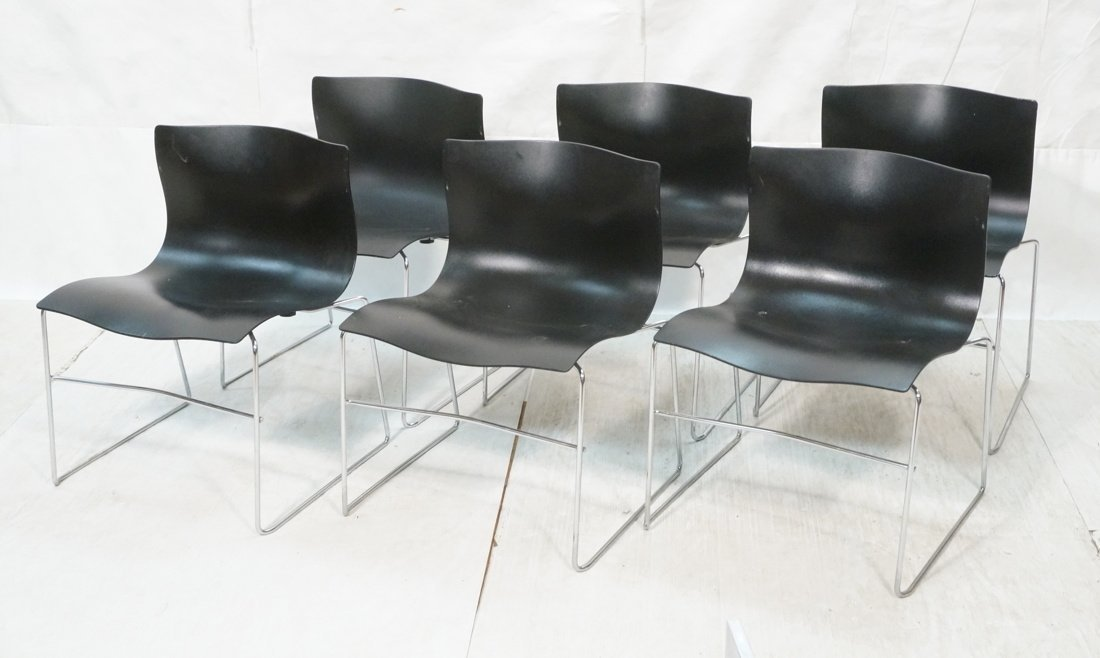 Set 6 Black KNOLL STUDIOS by VIGNELLI Stacking Ch