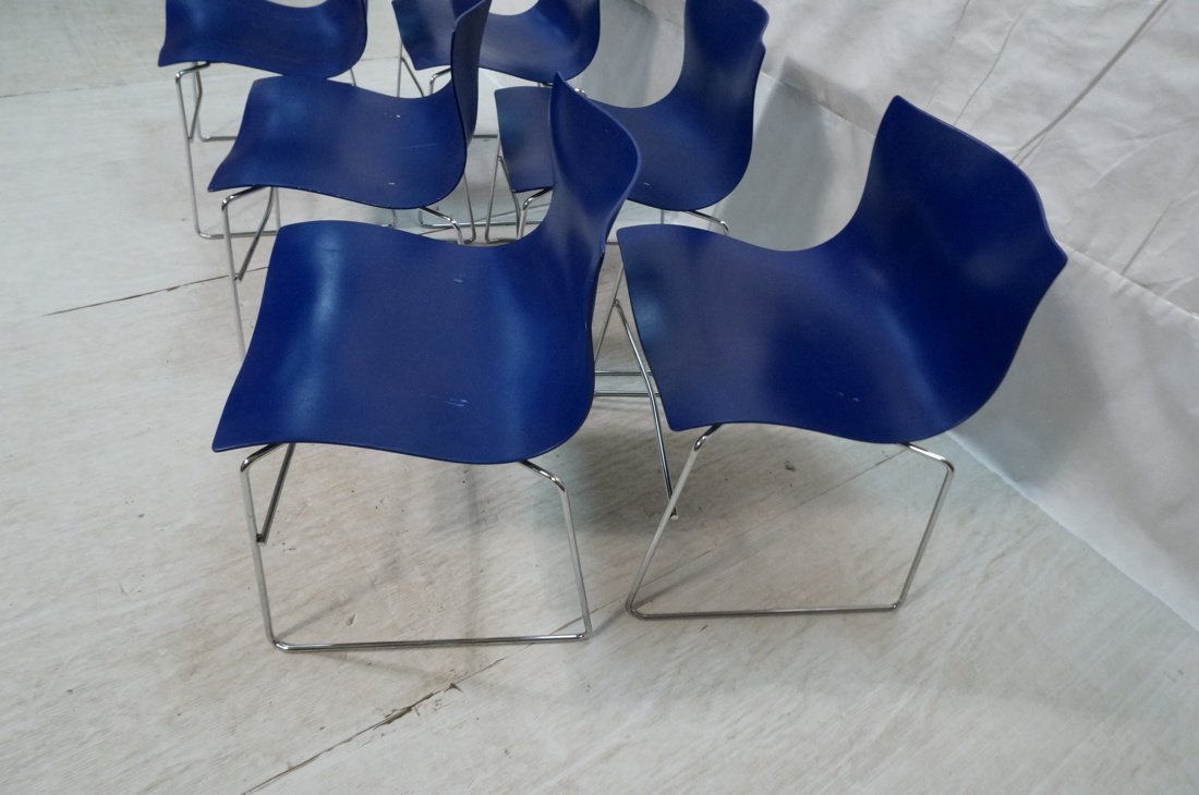 Set 6 Blue KNOLL STUDIOS by VIGNELLI Stacking Cha - 2