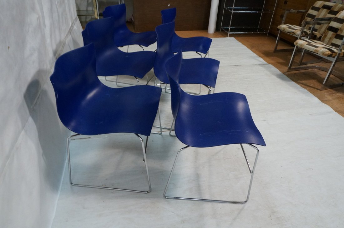 Set 6 Blue KNOLL STUDIOS by VIGNELLI Stacking Cha - 5