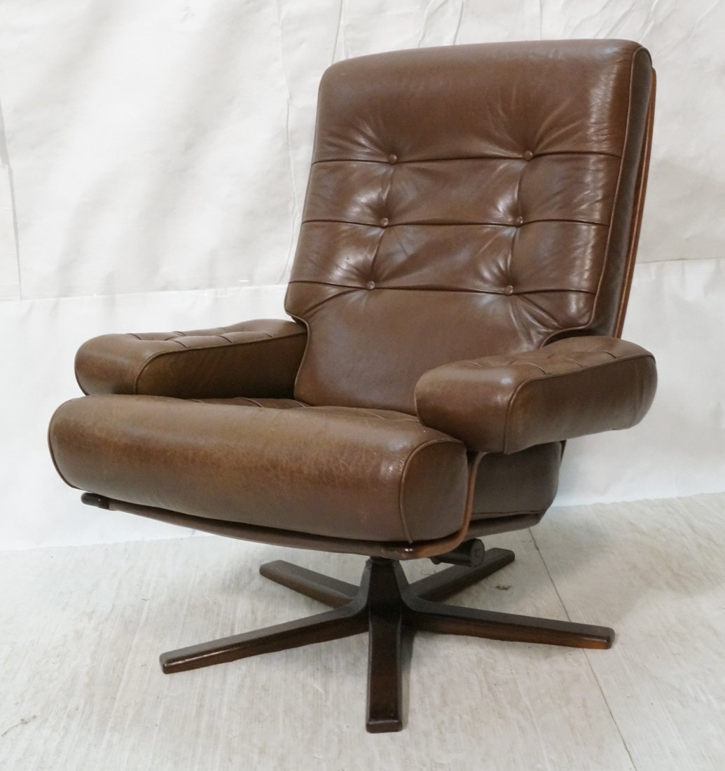 MOBEL Sweden Brown Leather Modernist Lounge Chair