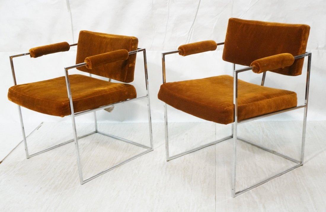 Pr Milo Baughman Arm Chairs with flat chrome fram