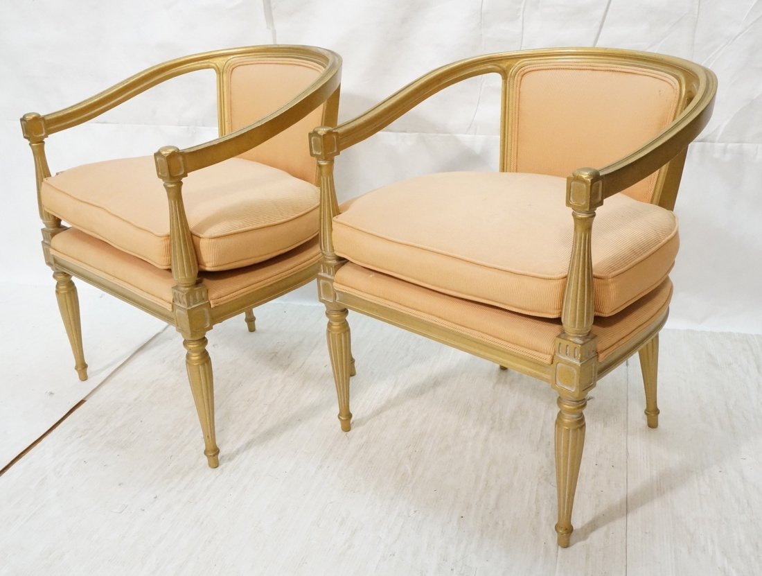 Pr Gold Painted  Carved Wood Fauteuils. French st