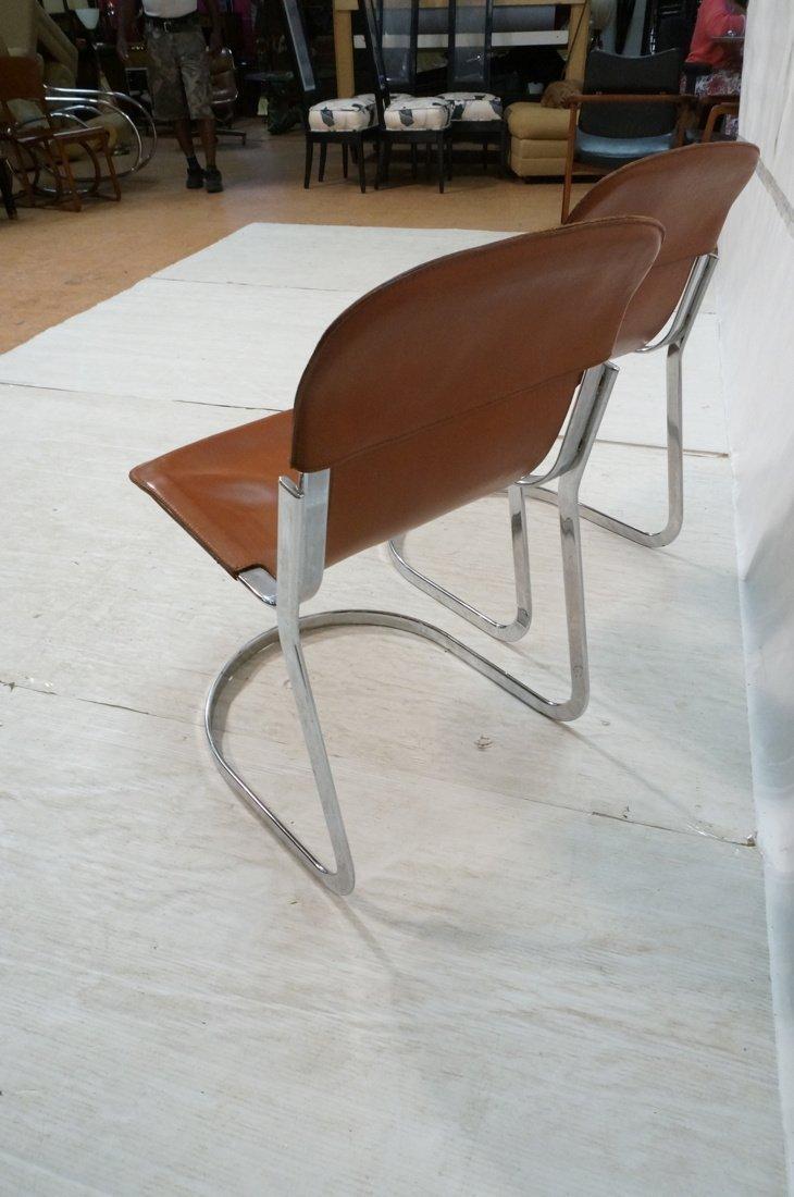 Pr Italian Leather & Chrome Frame Side Dining Cha - 4