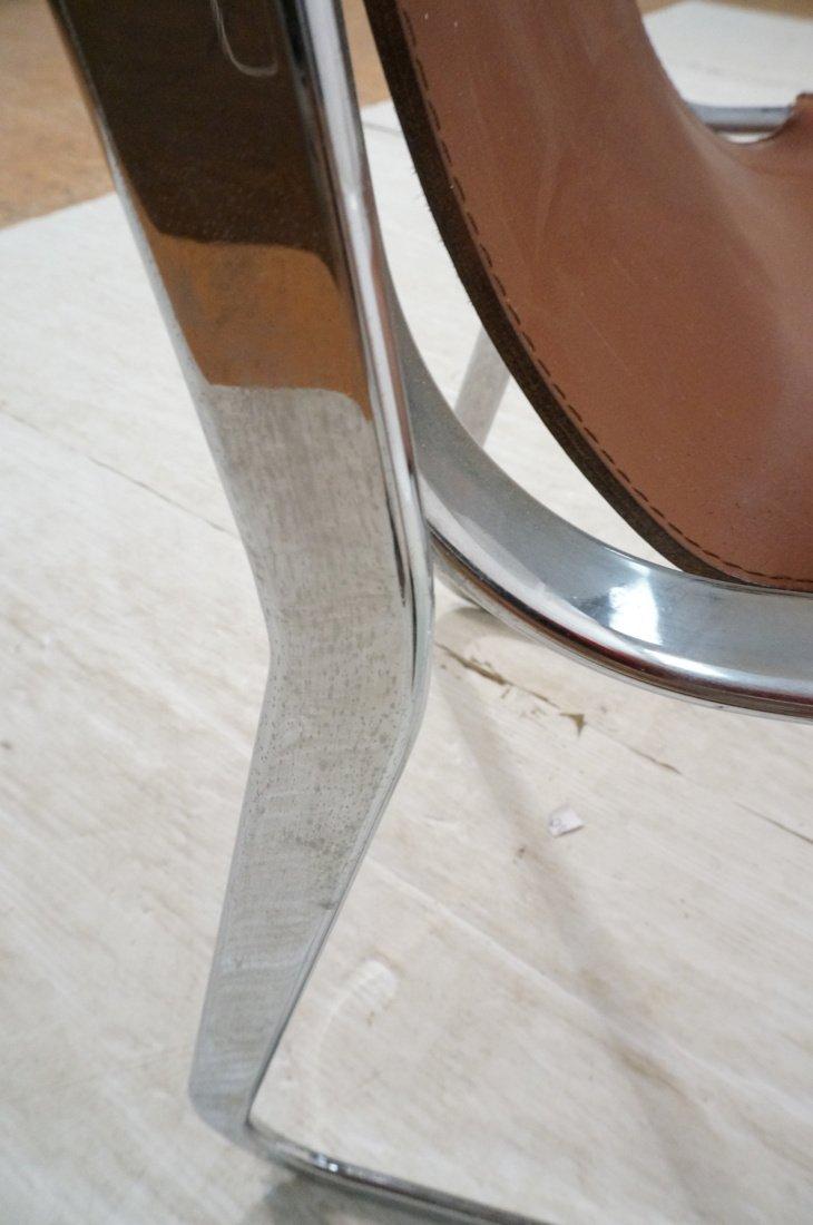 Pr Italian Leather & Chrome Frame Side Dining Cha - 8