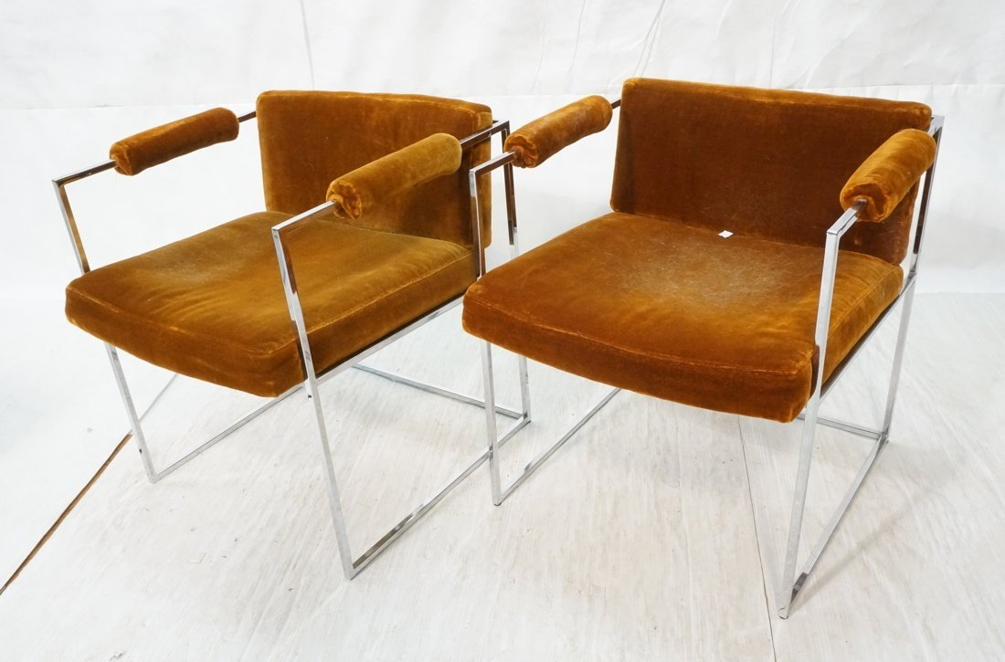 Pr Milo Baughman Arm Chairs with flat chrome fram