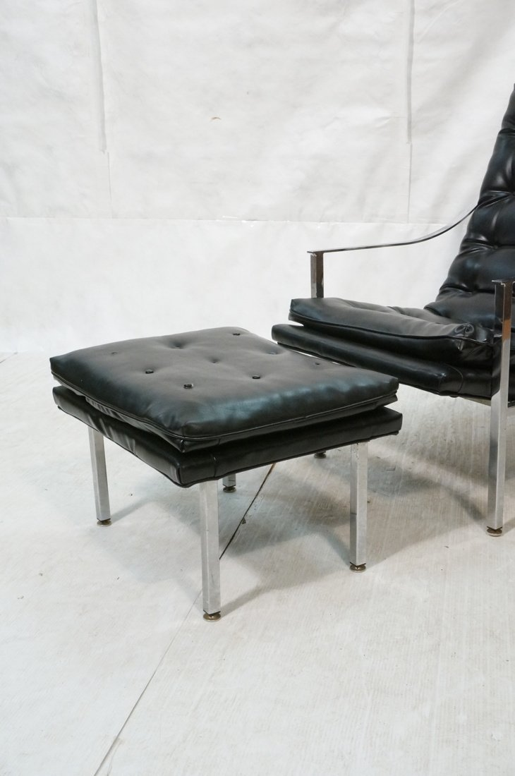 Black vinyl Lounge Chair & Ottoman. Chrome Frame. - 2