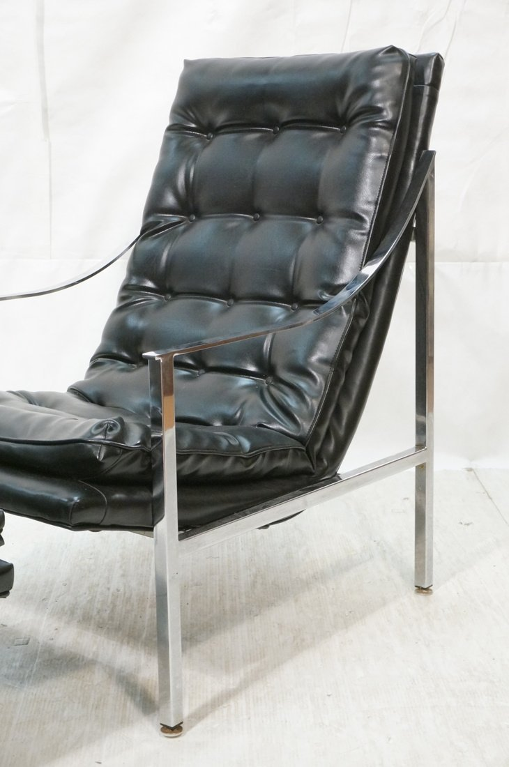 Black vinyl Lounge Chair & Ottoman. Chrome Frame. - 3