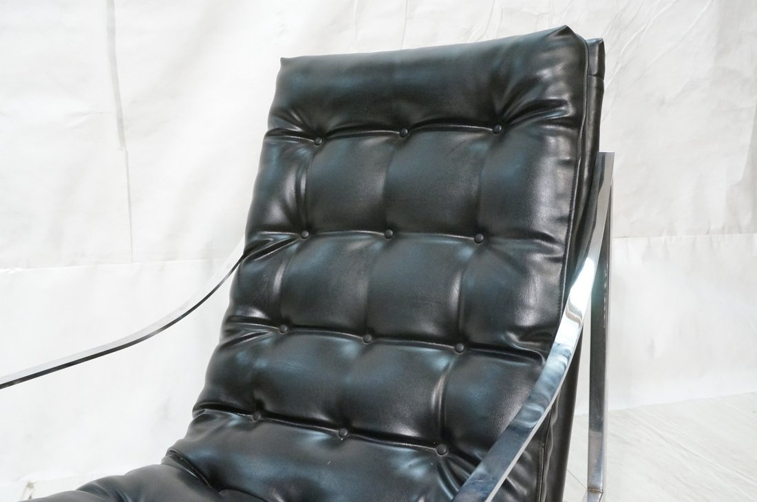 Black vinyl Lounge Chair & Ottoman. Chrome Frame. - 6
