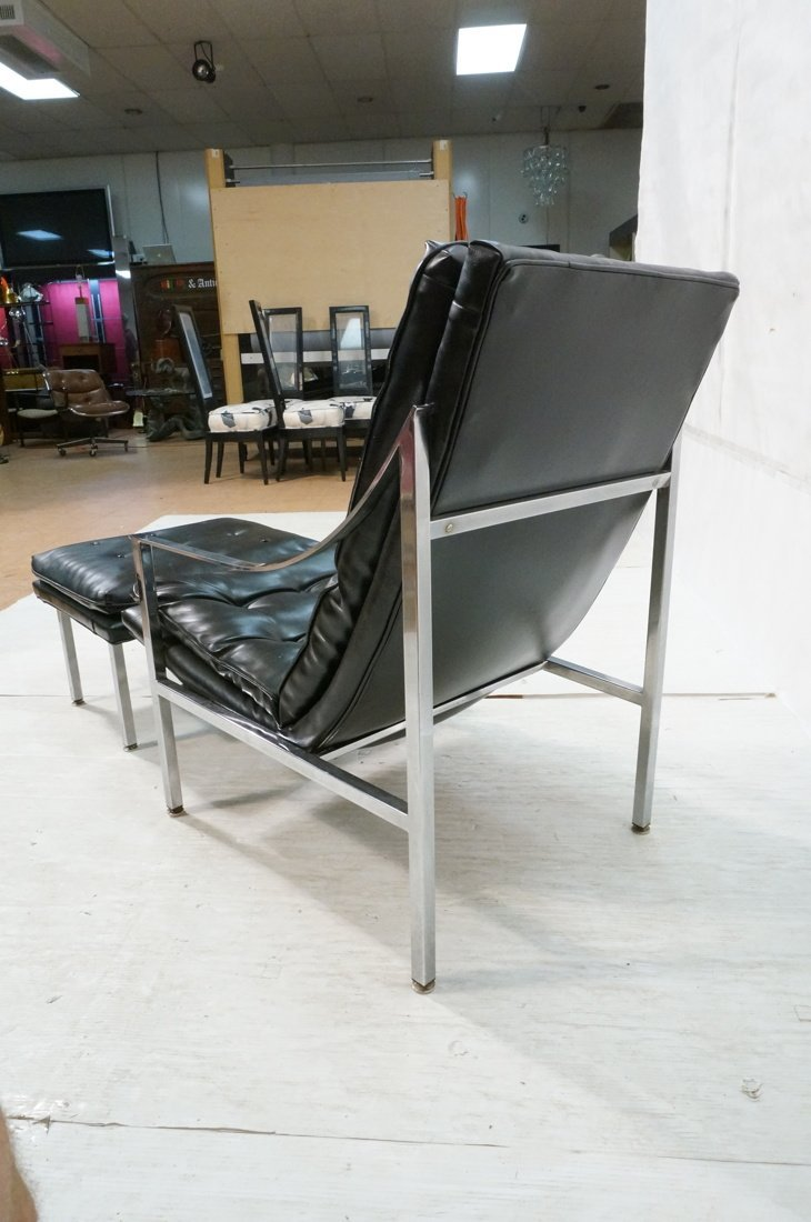 Black vinyl Lounge Chair & Ottoman. Chrome Frame. - 9