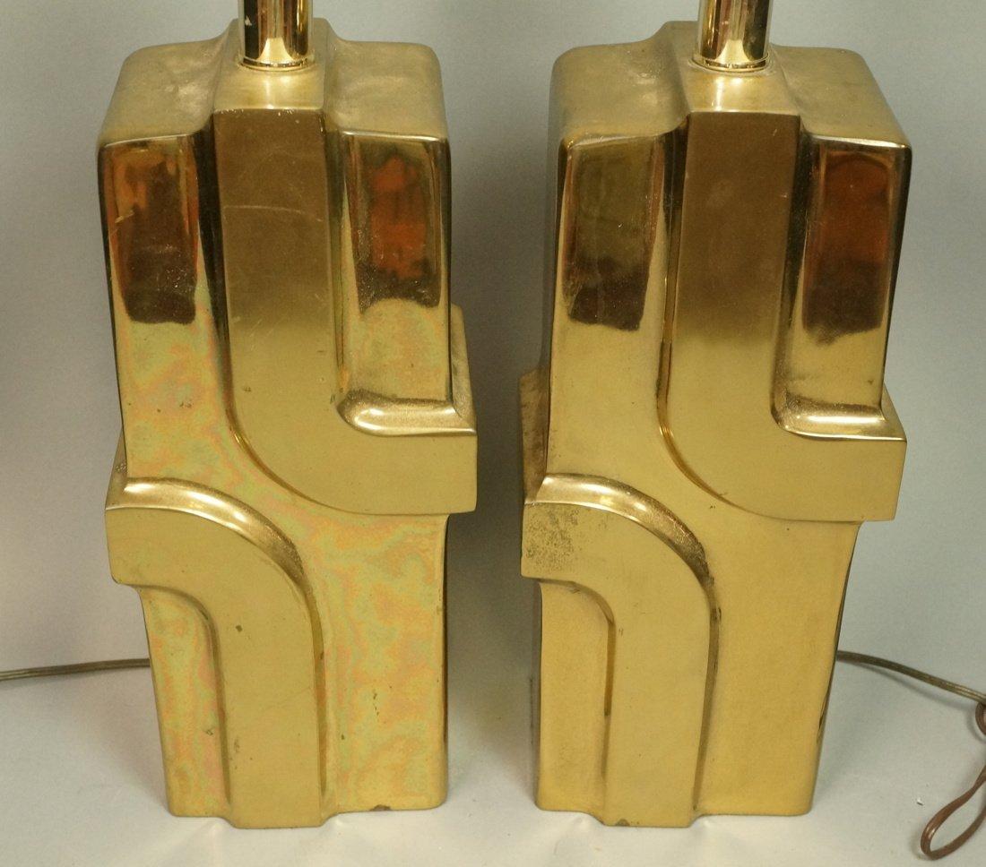 Pr Brass Modernist Table Lamps. Pierre Cardin Sty