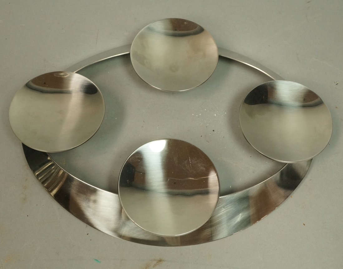 GEORG JENSEN Oval Stainless Danish Candle Holder.