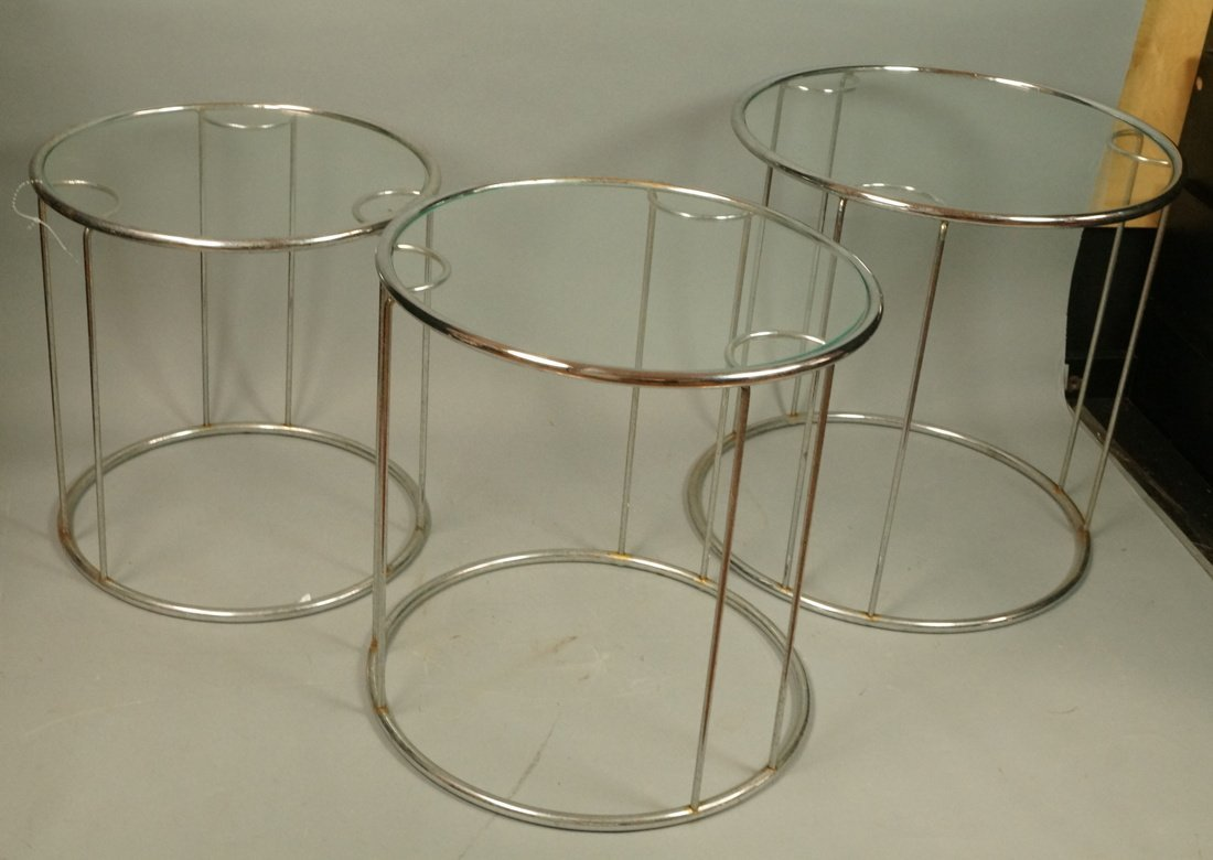 Set 3 Chrome Nesting Glass Top Side Tables. Round