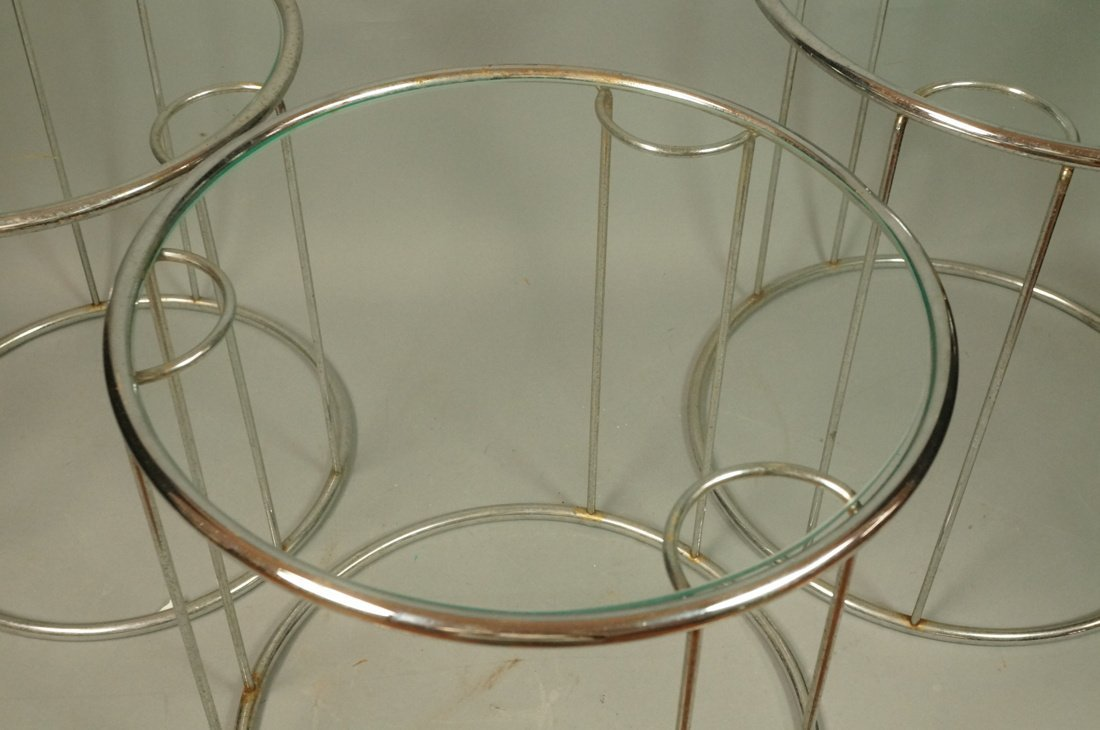 Set 3 Chrome Nesting Glass Top Side Tables. Round - 2