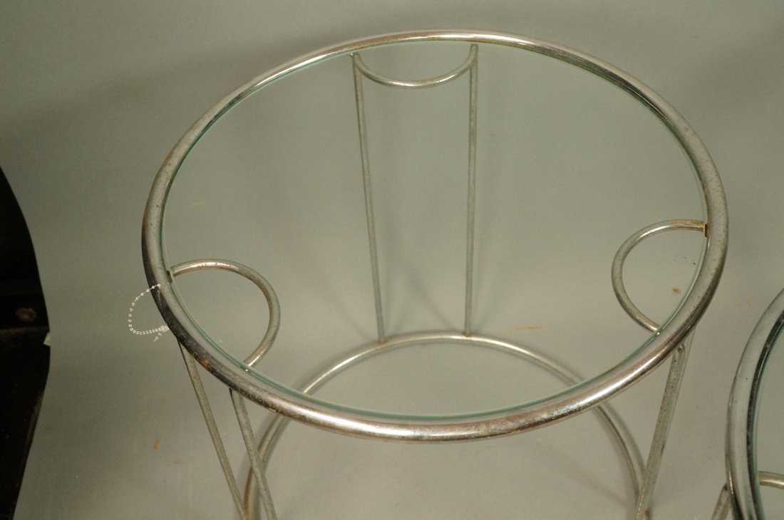Set 3 Chrome Nesting Glass Top Side Tables. Round - 3