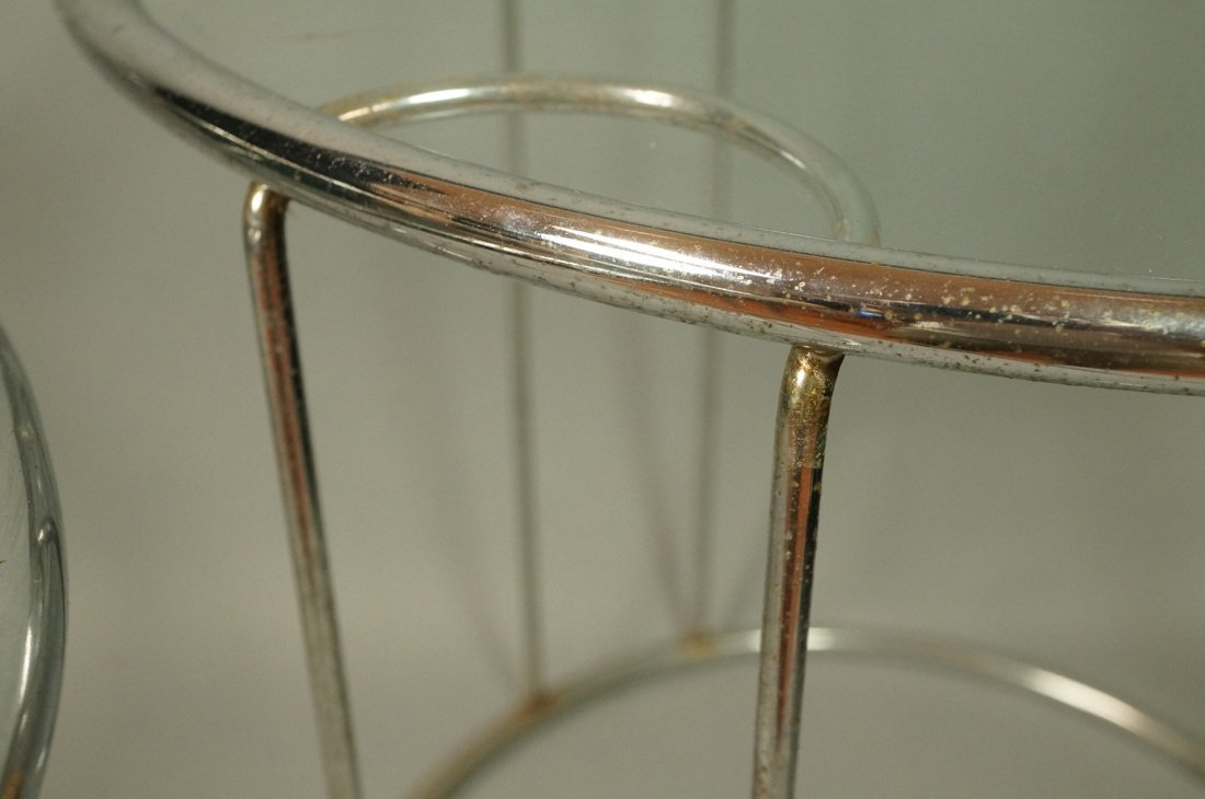 Set 3 Chrome Nesting Glass Top Side Tables. Round - 4