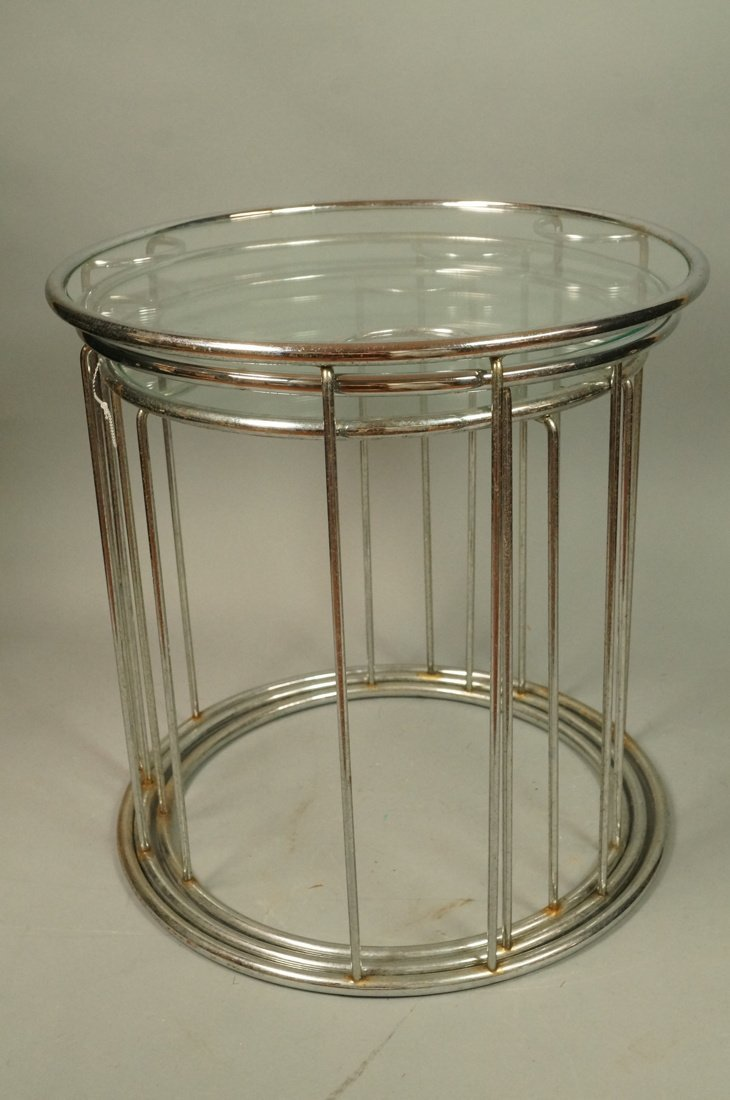 Set 3 Chrome Nesting Glass Top Side Tables. Round - 6