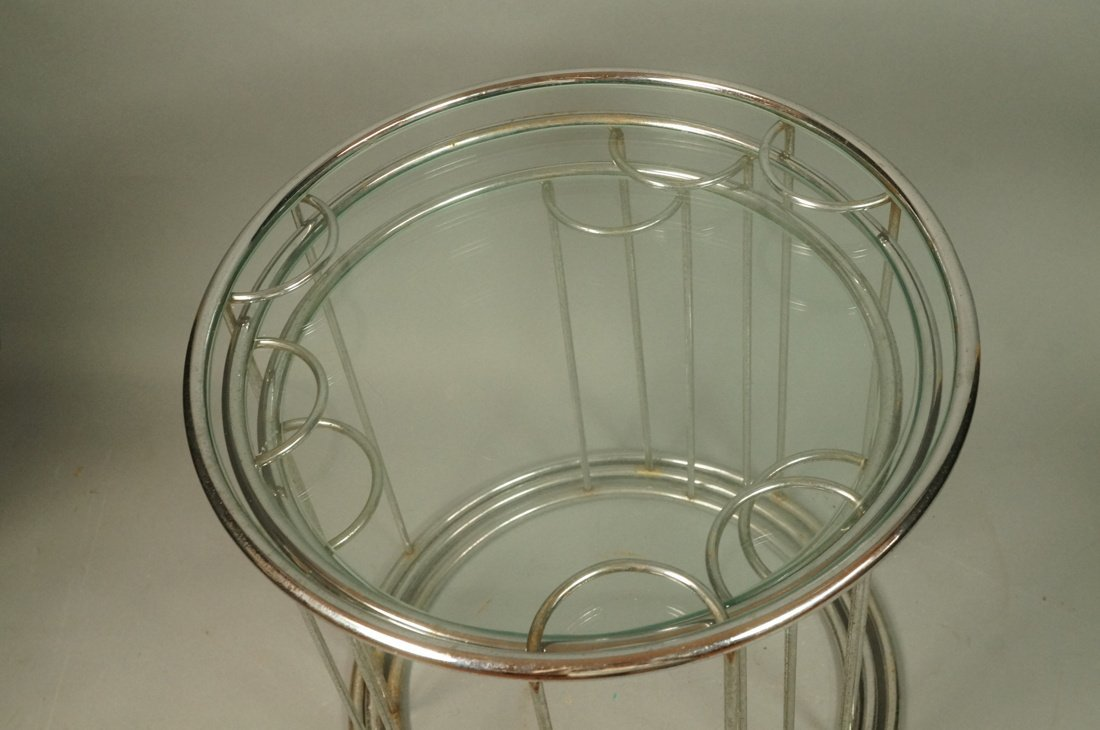 Set 3 Chrome Nesting Glass Top Side Tables. Round - 7