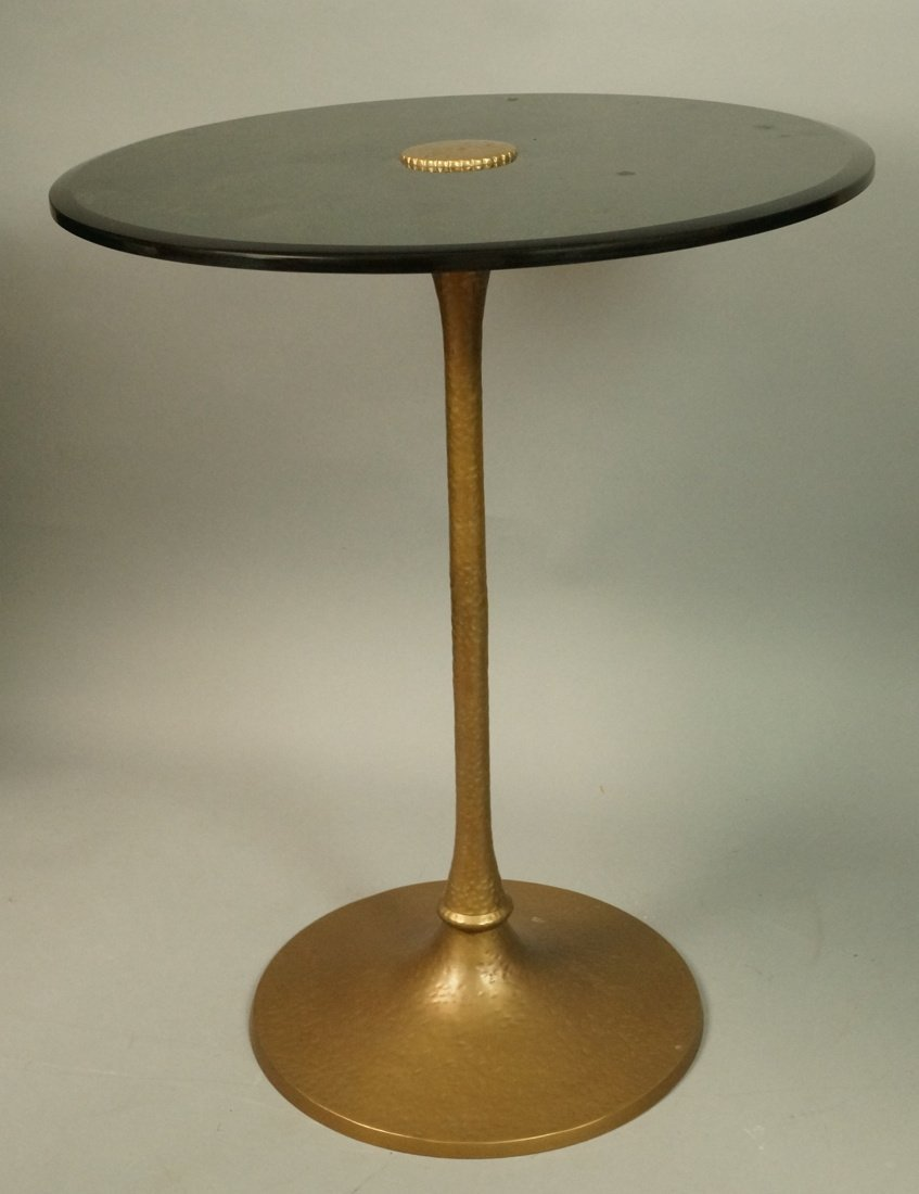 Brass Pedestal Side Occasional Table.