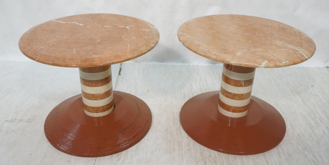 Pr Marble Top Memphis style Side Tables. Pink mar