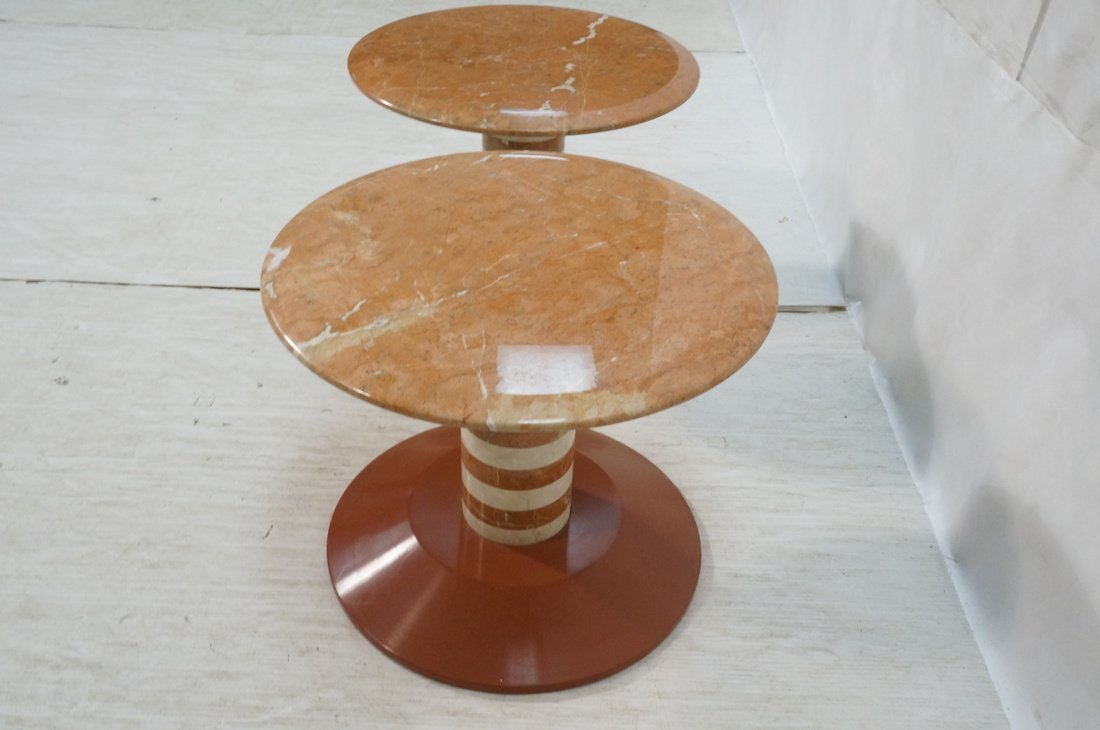 Pr Marble Top Memphis style Side Tables. Pink mar - 7