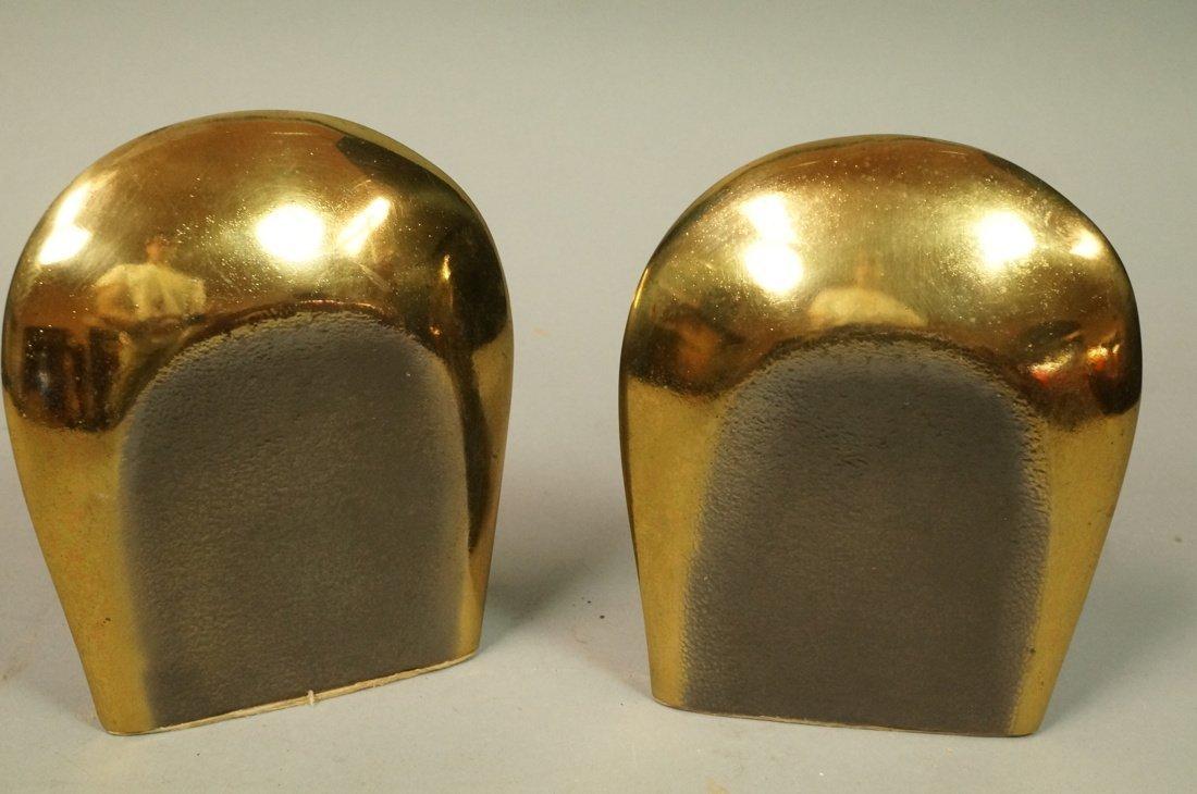 Pr Brass Modernist BEN SEIBEL Bookends. Upside do - 2