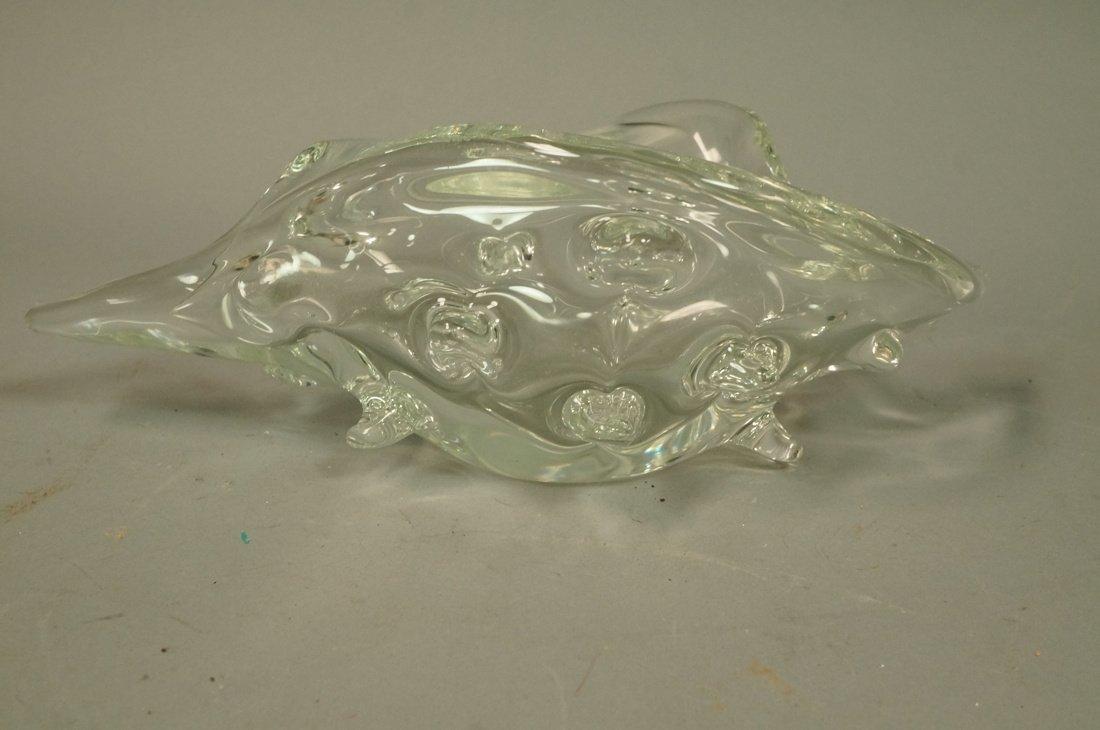 ZANETTI L. Art Glass Conch Sculpture. Clear glass