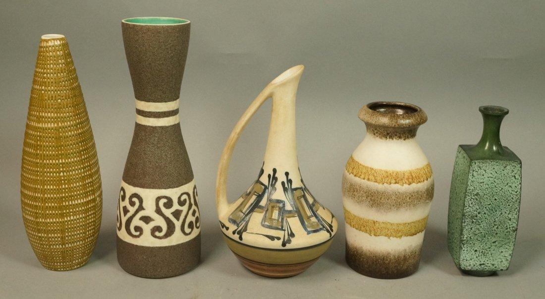5pc Modernist Vase Lot. German, Italy Israel. Mos