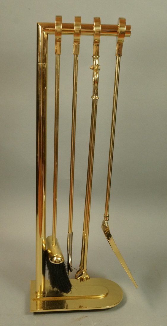 Modernist Brass Fireplace Tool Set. 4 tools have