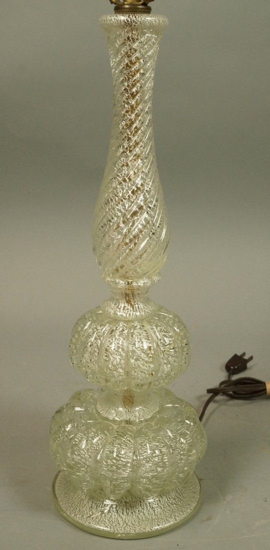 Murano Art Glass Lamp. Italian. Clear with silver