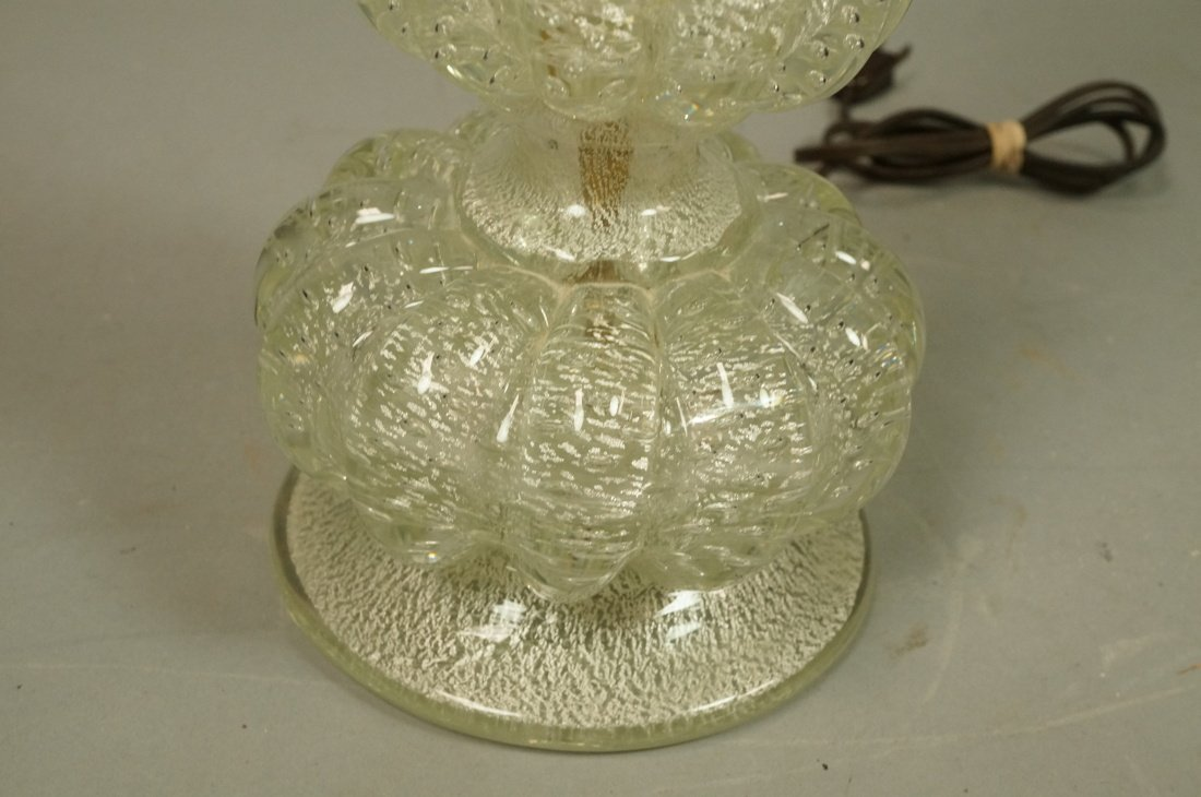 Murano Art Glass Lamp. Italian. Clear with silver - 3