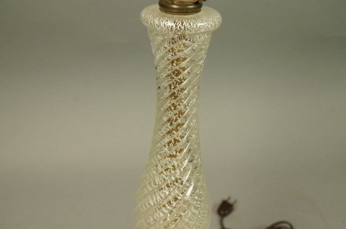 Murano Art Glass Lamp. Italian. Clear with silver - 5