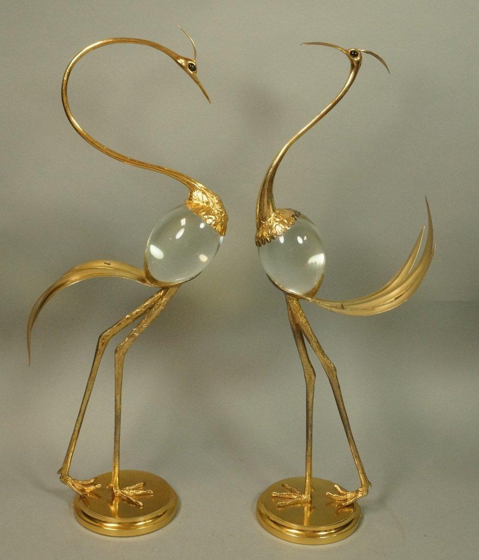 Pr FRANCO LAFINI Italian Brass & Crystal Birds. C