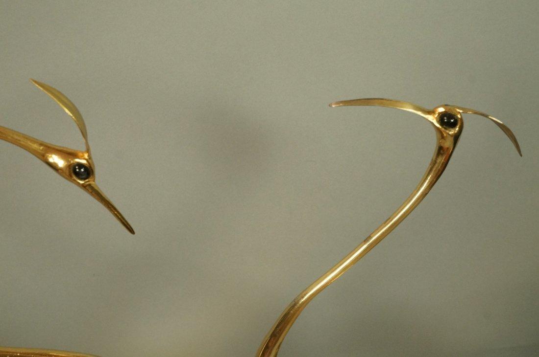 Pr FRANCO LAFINI Italian Brass & Crystal Birds. C - 2