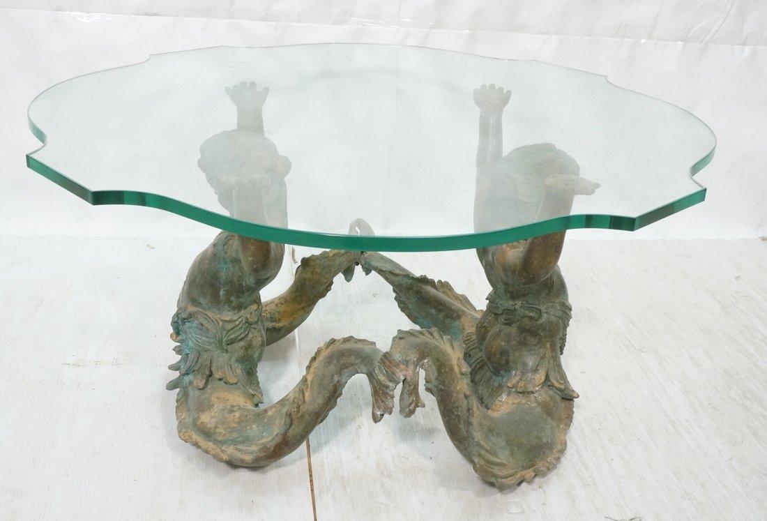 Sculptural Bronze Mermaid Base Coffee Table. Doub