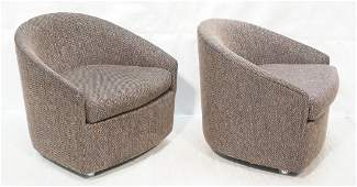 Pair of barrel-back club chairs Milo Baughman sty