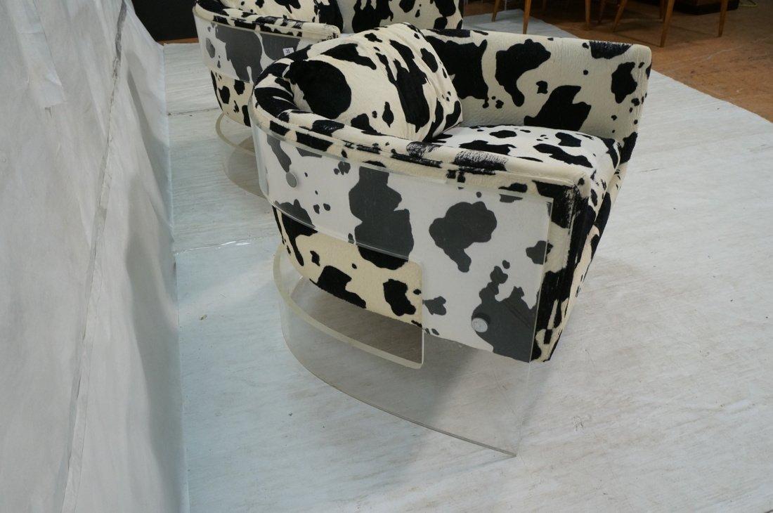 Pr MILO BAUGHMAN Lucite Barrel Back Lounge Chairs - 2