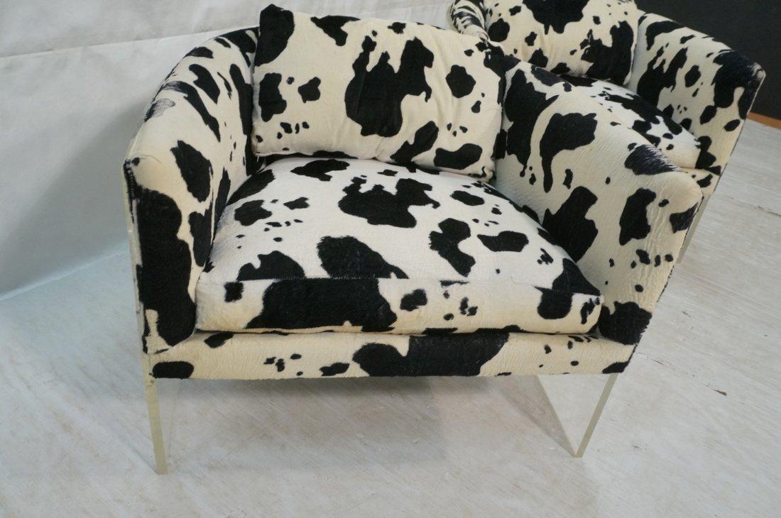Pr MILO BAUGHMAN Lucite Barrel Back Lounge Chairs - 3