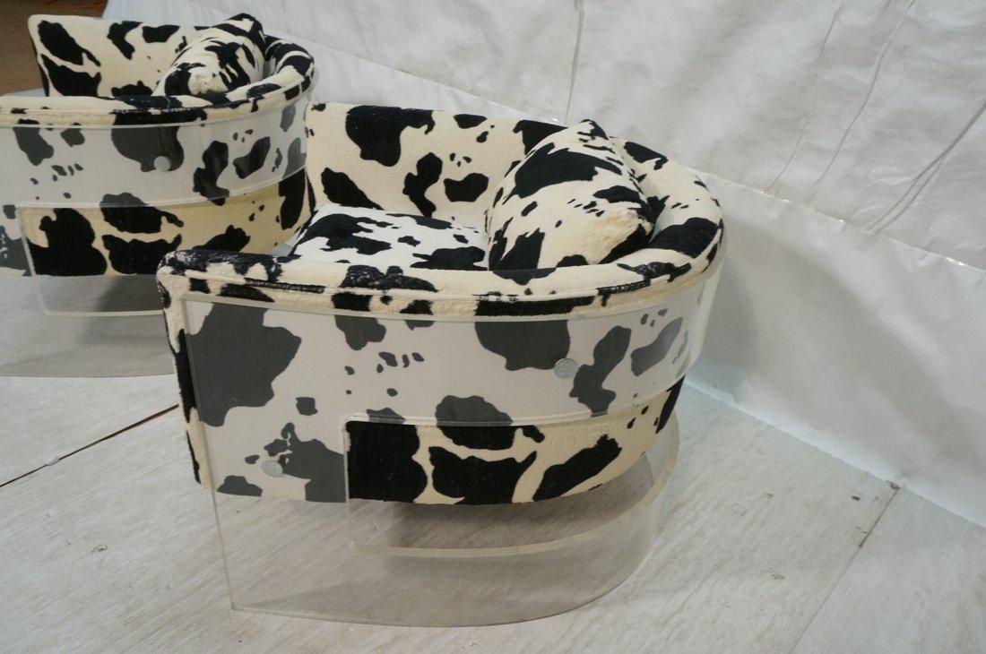 Pr MILO BAUGHMAN Lucite Barrel Back Lounge Chairs - 5