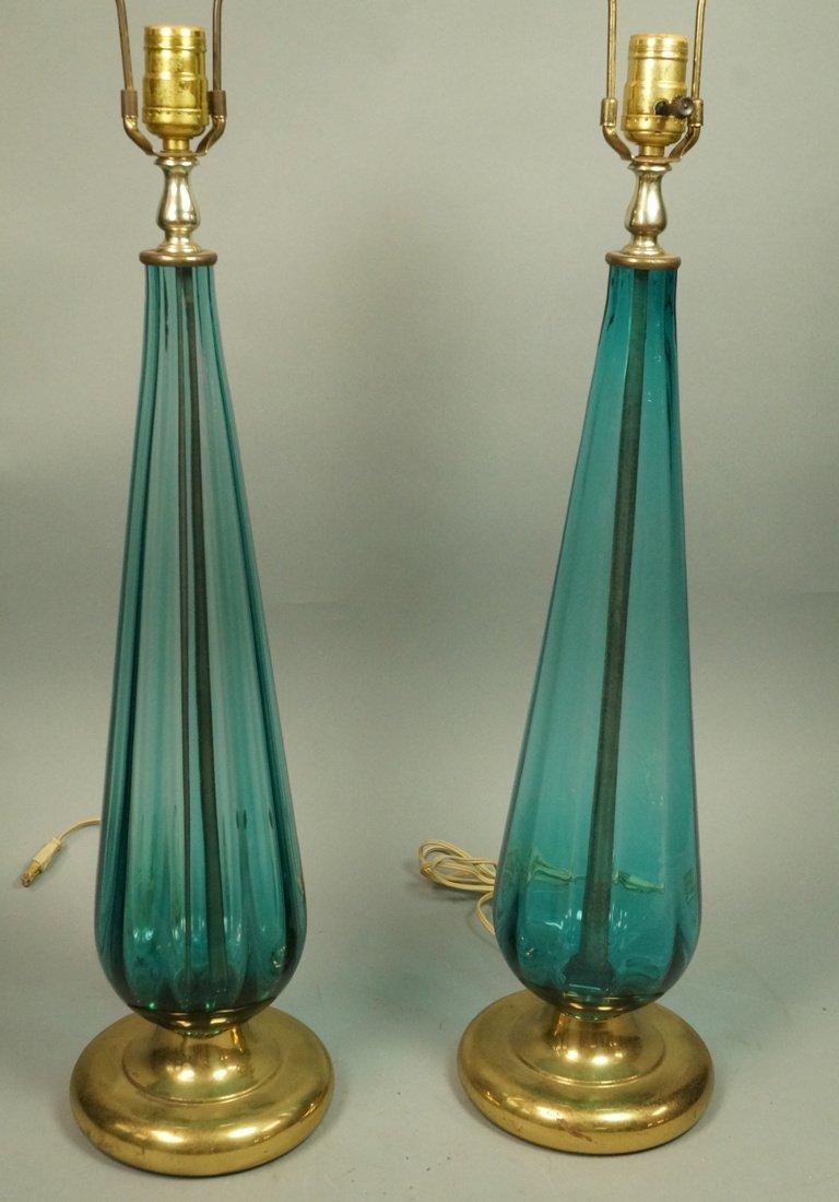 Pr Aqua Art Glass Teardrop Form Table Lamps. Gold