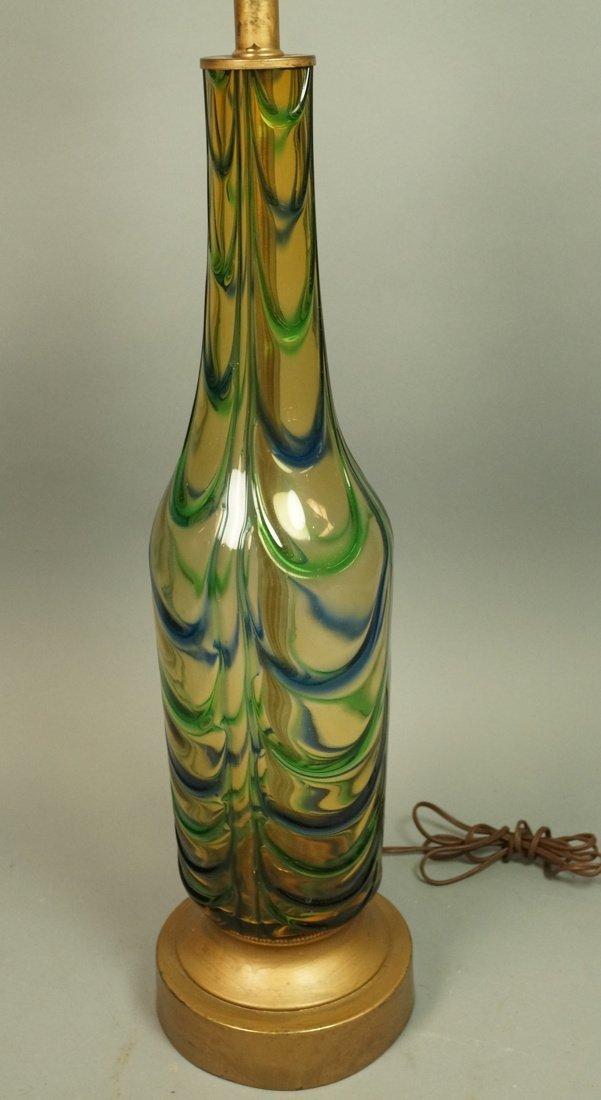 Murano Art Glass Lamp. Italian Modernist. Bottle