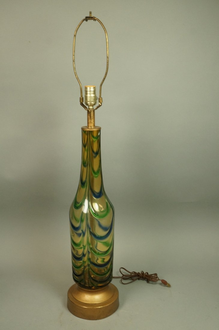 Murano Art Glass Lamp. Italian Modernist. Bottle - 2