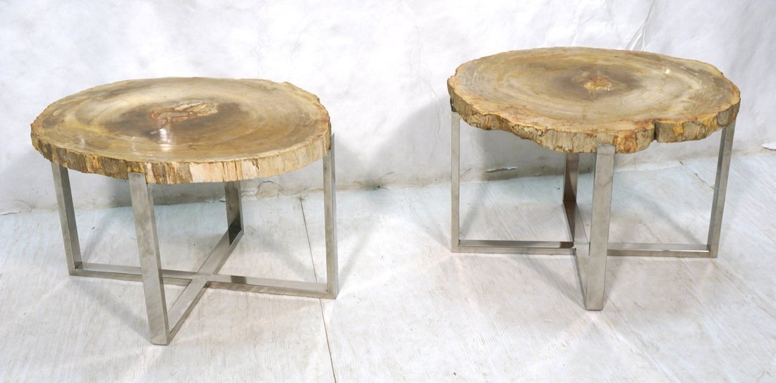Large Pr Petrified Wood Side Tables. Chrome frame