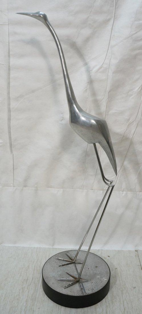 Tall Aluminum Crane Bird Sculpture.  Large round