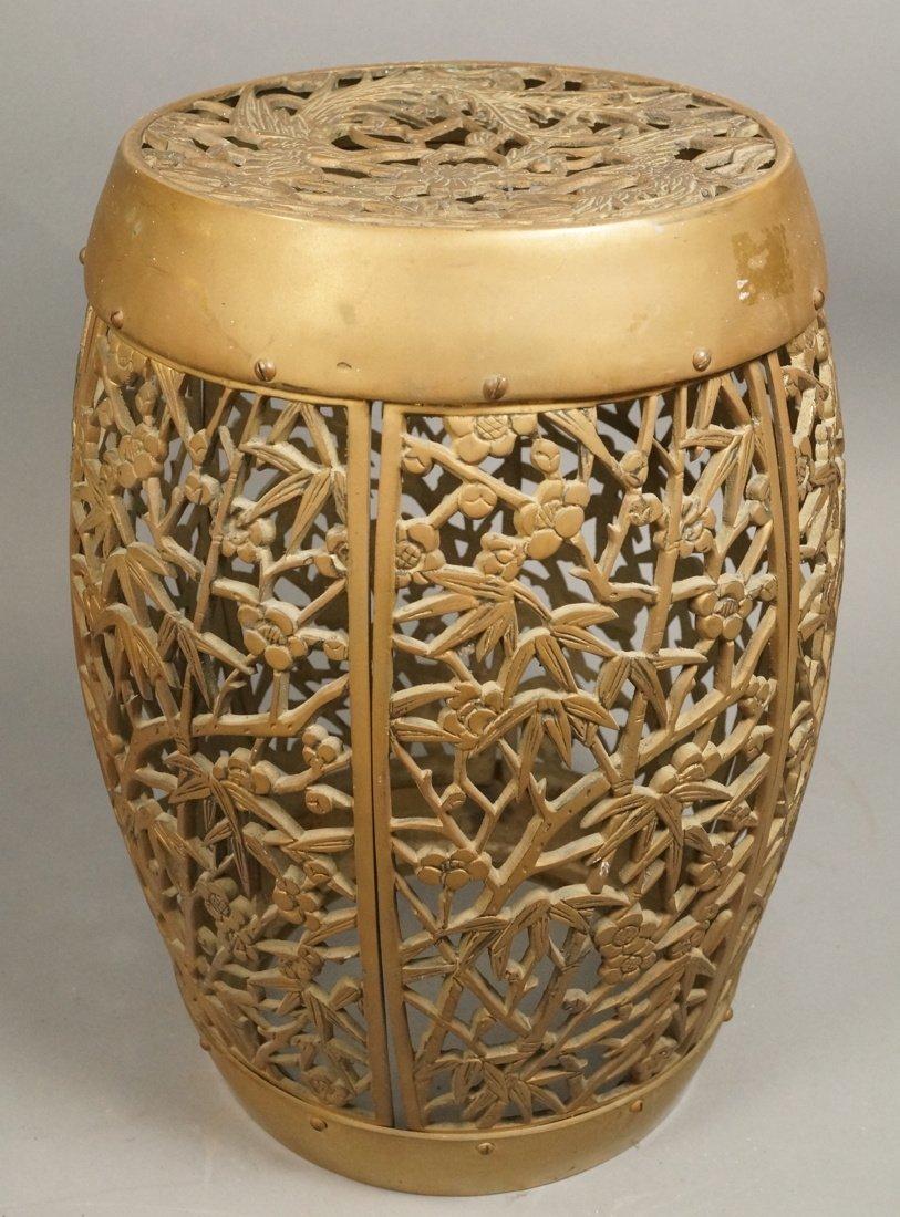 Brass Barrel form Stool Garden Seat. Asian Birds,