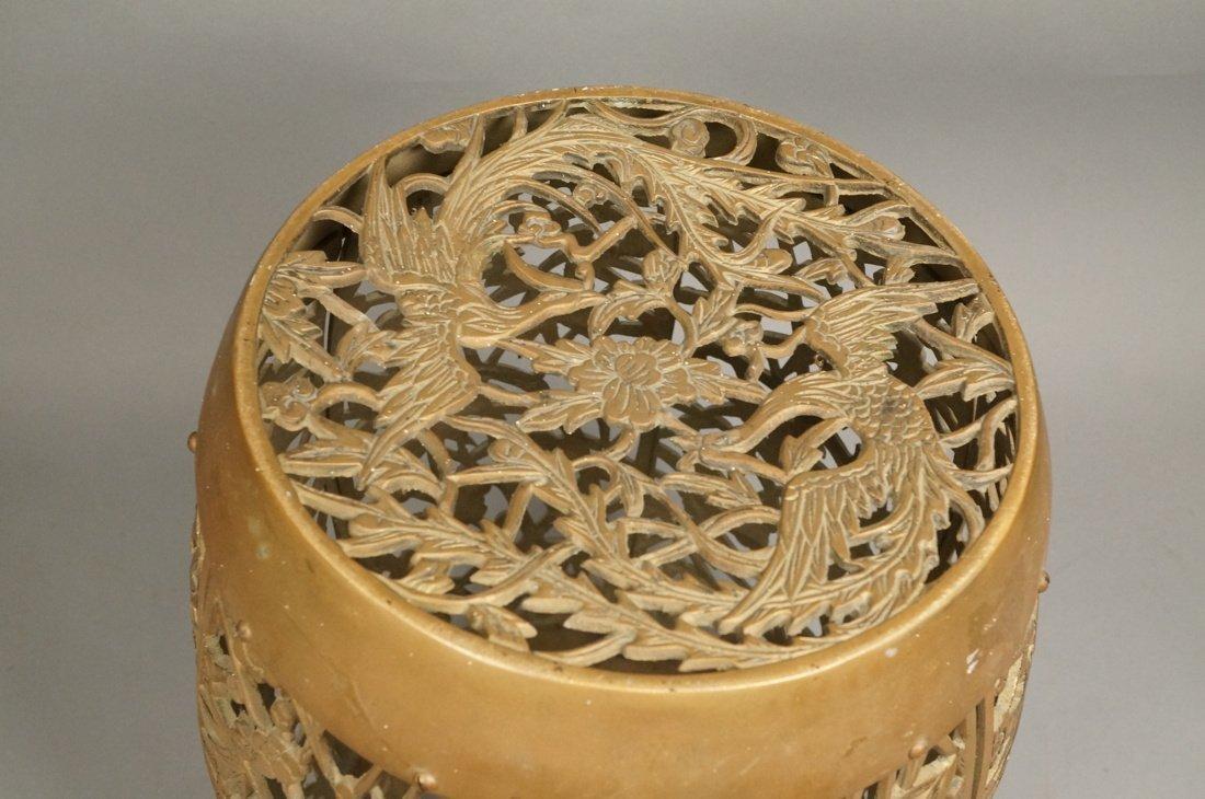 Brass Barrel form Stool Garden Seat. Asian Birds, - 2